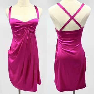 Susana Monaco magenta pink silk drape ginger dress